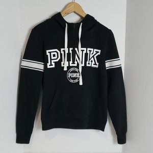 PINK Black & White 1/4 Zip Hooded Sweater, XS